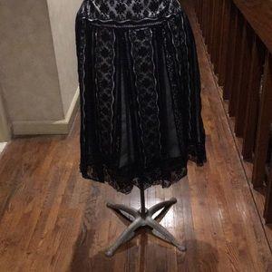 Eci New York black lace over white satin skirt 4